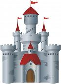 Fairy-tale castle on white background.