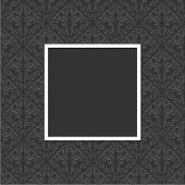 Seamless floral pattern with frame in gray and black color.