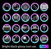 Black glossy icon set 3. Standart collection of design element for your creative word (see other in