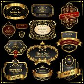 foto of aristocrat  - Retro vector gold frames on black background - JPG