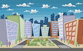 Vector illustration of a city street with colorful trees and buildings