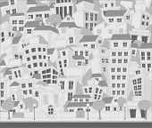 Vector illustration of a city with trees and buildings