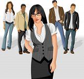 Mulher de negócios, vestindo o colete cinza com as pessoas do escritório no fundo