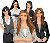 Set of five Business women