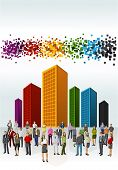 Template of a group of business and office people with colorful city landscape