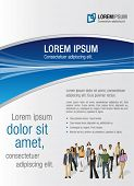 White and blue template for advertising brochure with business people