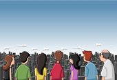 Group cartoon people looking / staring at big city