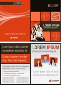 Brown, Red and orange template for advertising brochure with business people