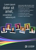 Colorful template for advertising brochure with people