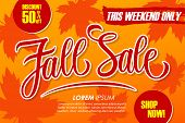 Fall Sale Special Offer Banner With Hand Drawn Lettering And Autumn Leaves For Seasonal Shopping. Th poster