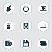 Device Icons Set With Floppy Disk, Control Device, Disc And Other Amplifier Elements. Isolated Vecto poster