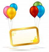 picture of happy birthday  - Vector celebration sign with colorful balloons - JPG
