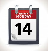 Vector calendar icon on February 14