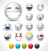 Set of beautiful vector smiles. 6 colors included.