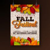 Autumn Party Flyer Illustration With Falling Leaves And Typography Design On Doodle Pattern Backgrou poster