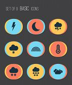Climate Icons Set With Winter, Night, Thermometer And Other Moon Elements. Isolated Vector Illustrat poster