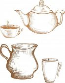 tea cup and teapot cream graphic illustration
