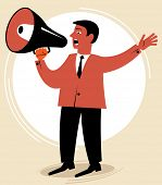 man speaks through the speaking-trumpet.figure business concept