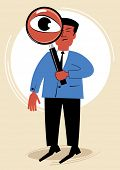 man looks through a magnifying glass.figure business concept