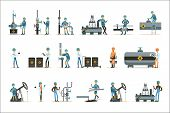 Happy People Working In Oil Industry Set Of Cartoon Characters Working At The Pipeline And Petroleum poster