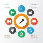 Multimedia Icons Set With Satellite, Previous, Categories And Other Equalizer Elements. Isolated  Il poster