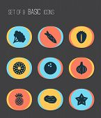 Food Icons Set With Coco, Starfruit, Root Vegetable And Other Carrot Elements. Isolated Vector Illus poster
