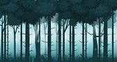 Cartoon Illustration Of Background Forest. Bright Forest Woods, Silhouttes, Trees With Bushes, Ferns poster