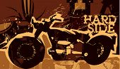 Retro poster with motor-bike. Vector illustration.