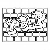 Rap Bricks Wall Icon. Outline Rap Bricks Wall Icon For Web Design Isolated On White Background poster