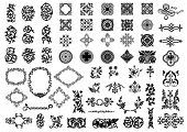 Medieval elements isolated on white. Vector illustration.