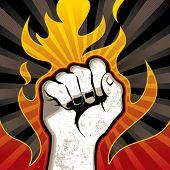 Fire fist background. Vector illustration.