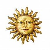 Golden Sun Face Symbol With Sunrays Isolated On White. Wooden Decor Ornament Symbol Painted On Gold  poster