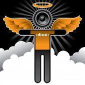Disco angel background. Vector illustration.
