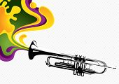 Designed stylized banner with trumpet. Vector illustration.