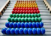 Close-up Rows Of Colorful Wooden Beads Of Abacus For Kids To Learn Math poster