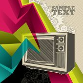 Artistic banner with retro tv. Vector illustration.