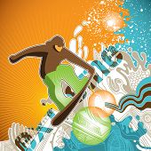 Progressive snowboarding banner with abstractions. Vector illustration.