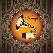 Vintage banner with old gramophone. Vector illustration.