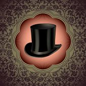 Vintage floral background with top hat. Vector illustration.