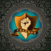 Artistic floral background with fist. Vector illustration.