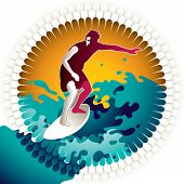 Artistic designed background with surfer. Vector illustration.