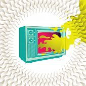 Abstract colorful background with retro tv. Vector illustration.