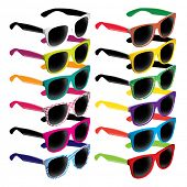 Set of colorful retro sunglasses. Vector illustration.