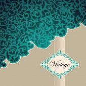 Vintage background with floral decoration. Vector illustration.