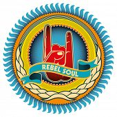 Illustrated colorful rebel emblem with retro elements. Vector illustration.
