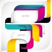 Creative colorful layout with designed shapes. Vector illustration.
