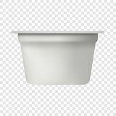 Yogurt Packing Mockup. Realistic Illustration Of Yogurt Packing Mockup For On Transparent Background poster