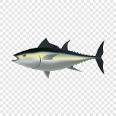 Tuna Fish Mockup. Realistic Illustration Of Tuna Fish Mockup For On Transparent Background poster