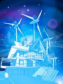 A modern house and windmills on a blue background surrounded by digital networks: an illustration of poster