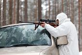 Sniper In White Camouflage